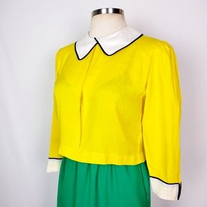 Vintage | Yellow Button Back Collar Shirt M